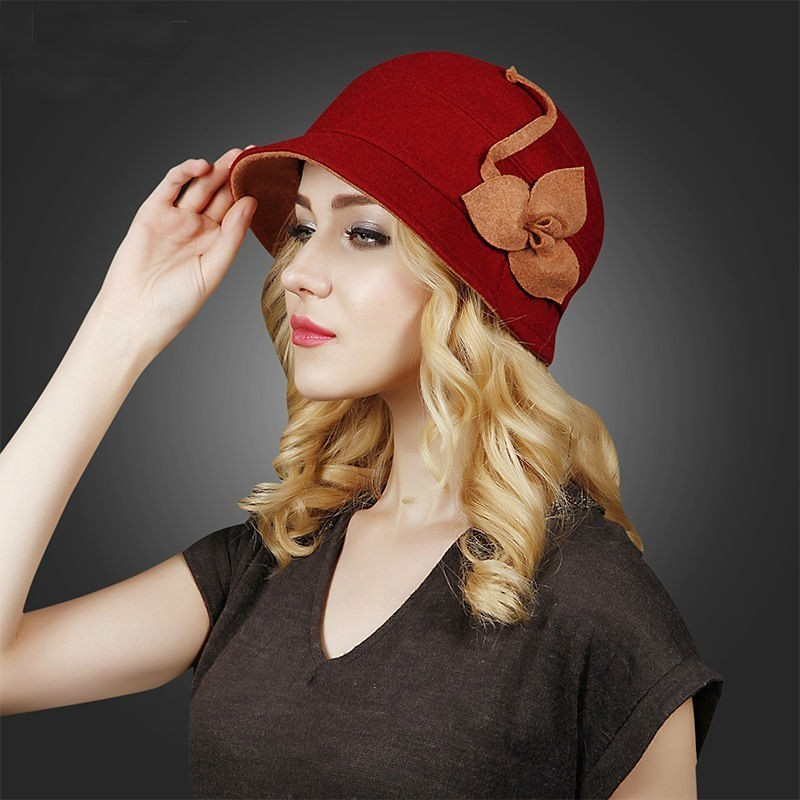 Female Gift Top Quality Wool Hats Lady Banquet Elegant Fedora Hat Women  Winter Beautiful Cloche Hat -in Bucket Hats from Apparel Accessories on ... 9e897b7efc55