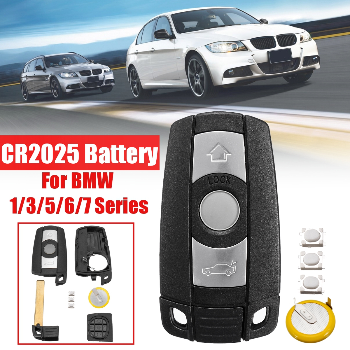 With Blade Battery Remote 3 Button Car Key Shell Case Styling Cover Trim For BMW 1/3/5/6/7 Series E90 E92 E93 E60 E61 X1 X5 X6(China)