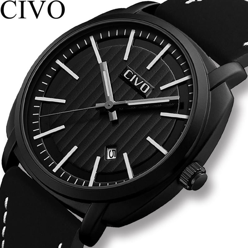 CIVO 2019 Mens Watches Military Waterproof Analogue Date Calendar Travel Sport Watches Mens Genuine Leather Quartz Wrist WatchesCIVO 2019 Mens Watches Military Waterproof Analogue Date Calendar Travel Sport Watches Mens Genuine Leather Quartz Wrist Watches