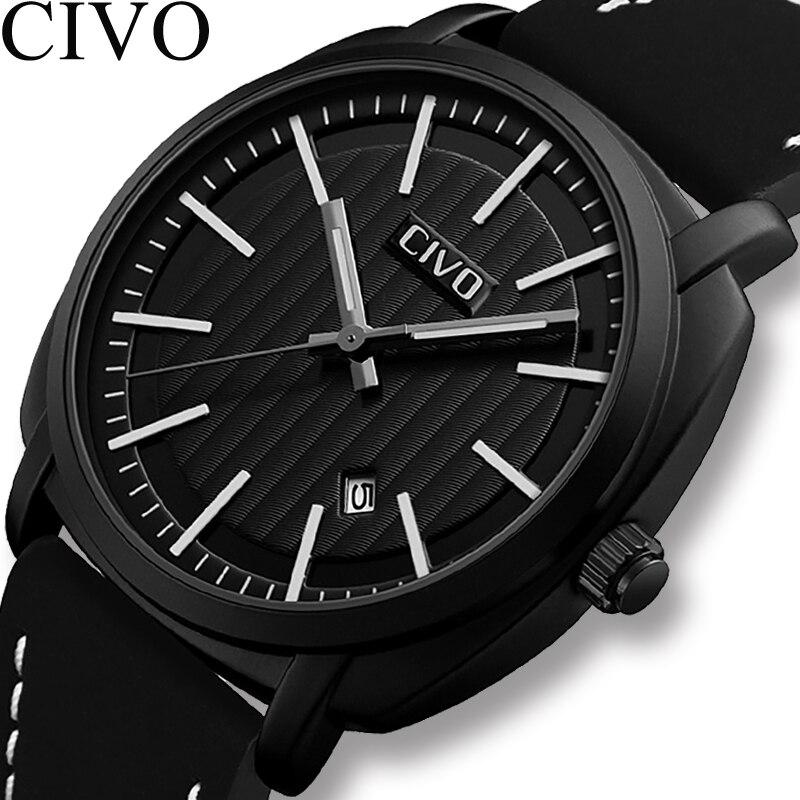 CIVO 2019 hommes montres militaire étanche analogique Date calendrier voyage Sport montres hommes en cuir véritable Quartz montres