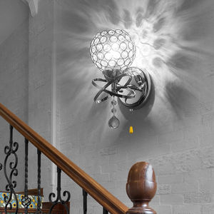 Image 5 - التيار المتناوب 85 250 فولت E14 Led الحديثة كريستال الجدار مصباح الشمعدان ضوء لمبة غرفة نوم المدخل تركيبة إضاءة الإبداعية مع On/Off سحب التبديل