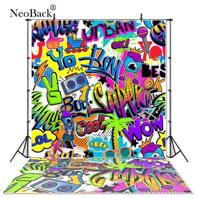 US $10 55 34% OFF|Thin Vinyl rap music player graffiti baby children  birthday Photography studio Backgrounds professional indoor Photo  Backdrops-in