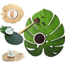 5PCS Placemat for Kitchen Table Mat Christmas Simulation Plant Palm Gold Leaf Decorative Pad Coasters