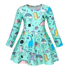 AmzBarley Toddler Girls Dress Long Sleeve dress Cartoon Unicorn Party Princess children clothes for girls