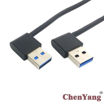 20cm 50cm USB 3.0 Type A Male 90 Degree Left Angled to USB 3.0 A Type Right Angled Extension Cable cy 50cm right angled 90 degree usb 2 0 a male to b male printer scanner cable