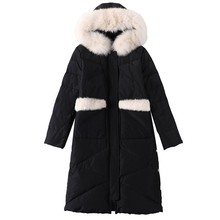 цена на Down Jacket Female 2018 New Long Coat Female White Duck Down Black Parka Large Fur Collar Loose Hooded Plus Size Jacket Ls225