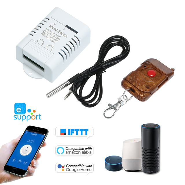 eWeLink TH 16 RF 433MHz Smart Wifi Switch 16A/3500W Monitoring Temperature Wireless Home Automation Kit with Waterproof