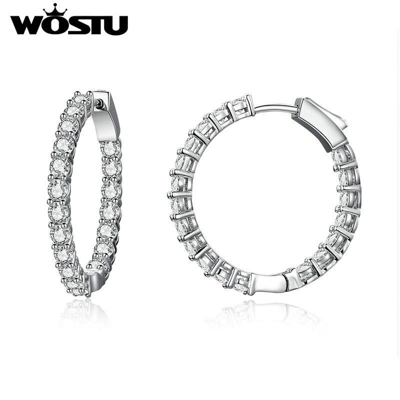 WOSTU Authentische Mode Glänzende Einfache Runde Tropfen Ohrringe Klar CZ Für Frauen Schmuck Ohrringe Luxus Marke Geschenke XCNE138