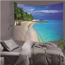 3D Blue Sea Scenery Tapestry Wall Art Hanging Tapestries Carpet Beach Towel Yoga Mat for Living Room Bedroom Decor Supply