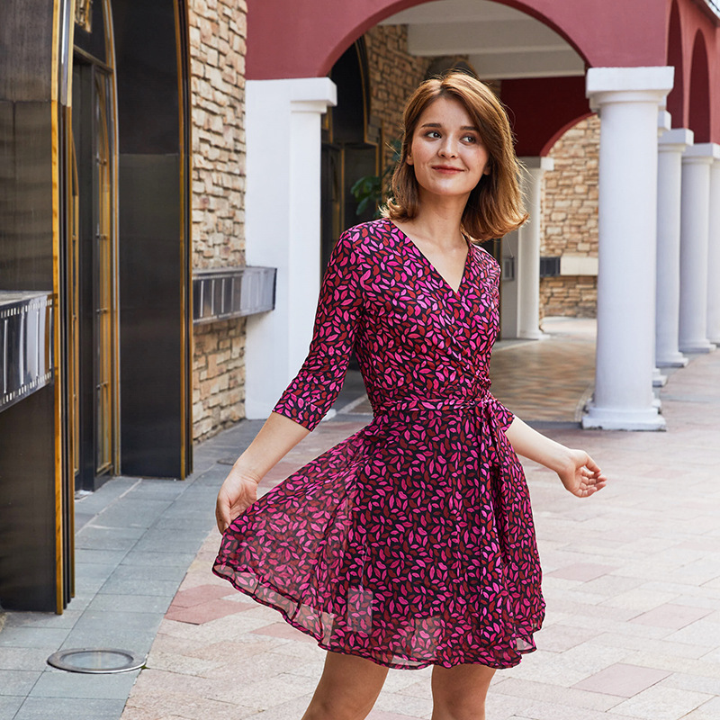 2019 Spring Vintage Women Purple Print Chiffon Mini Dress High Quality Half Sleeve Female Beach Holiday