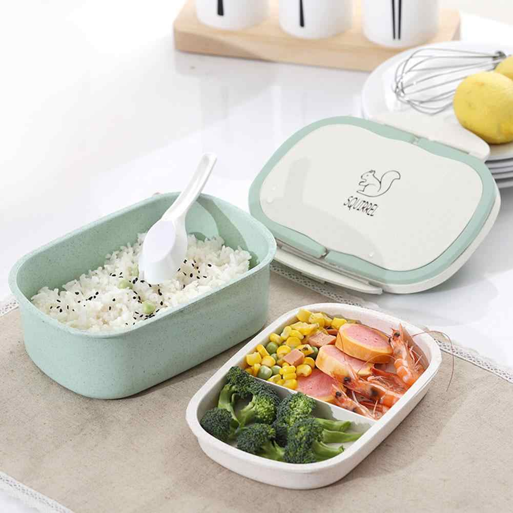 Bento Lunch Box for Kid Eco-Friendly Food Container Storage Bento Boxes 2 Layer Handle Wheat Straw Cartoon Animal