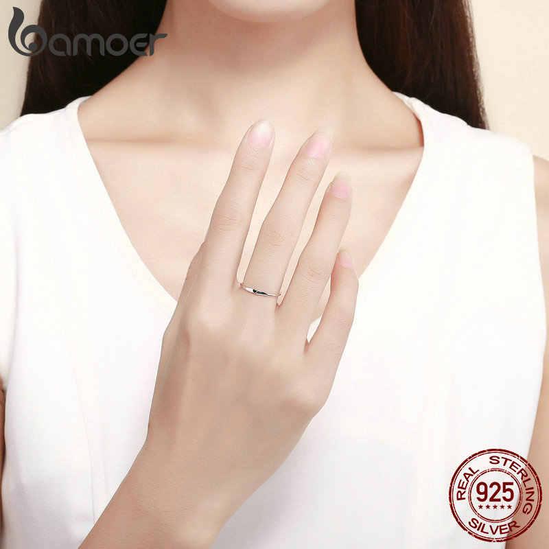 BAMOER 925 Sterling Silver Rotondi del Cerchio Puro Anello di Barretta Semplice Cuore Incidere Anelli per le Donne di Nozze di Fidanzamento Gioielli SCR468