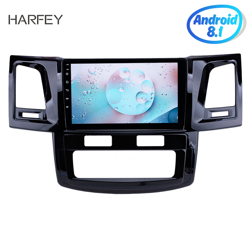 Harfey HD Radio Android 8.1 GPS Navi Head unit 9for 2008 2014 Toyota Fortuner Hilux WIFI Bluetooth USB support DVR SWC 3G OBD2