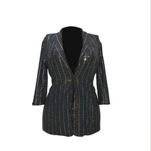 casual slim high-end shine single breasted western jacket sequin womens blazer casual long long blazer