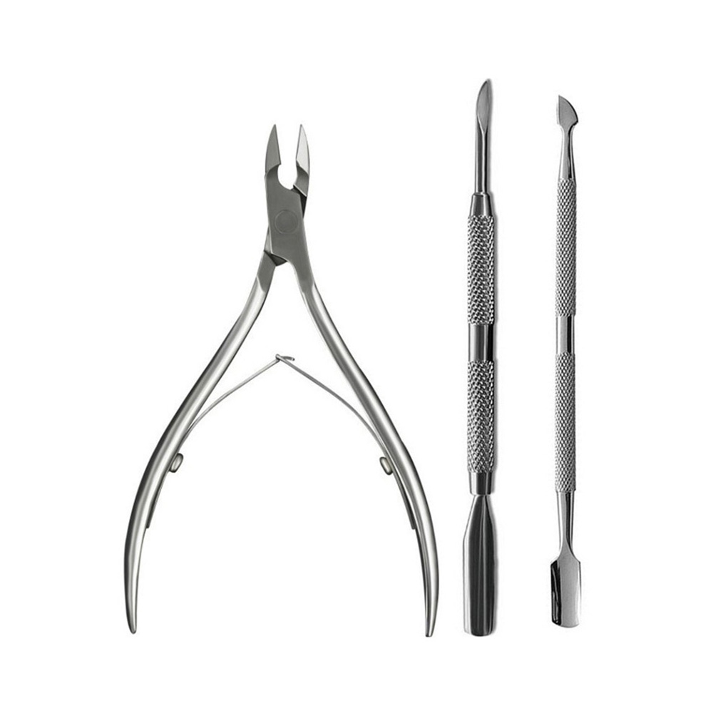 все цены на 3 Pcs/Lot Nail Art Manicure Tools Stainless Steel Nail Cuticle Nipper Spoon Cuticle Pusher Trimmer Cuticle Pusher Remover Set