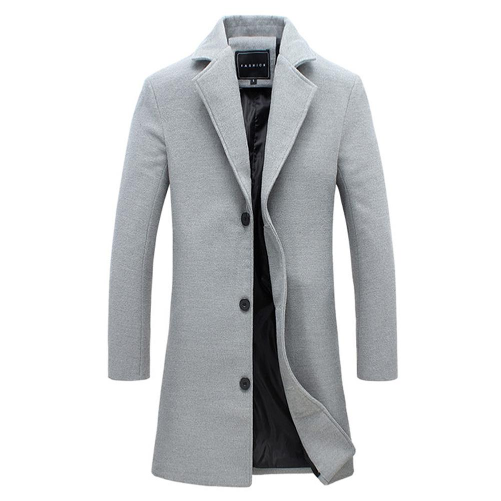 2019 Fashion Men's Wool Coat Winter Warm Solid Color Long Trench Jacket Male Single Breasted Business Casual Overcoat Parka 2