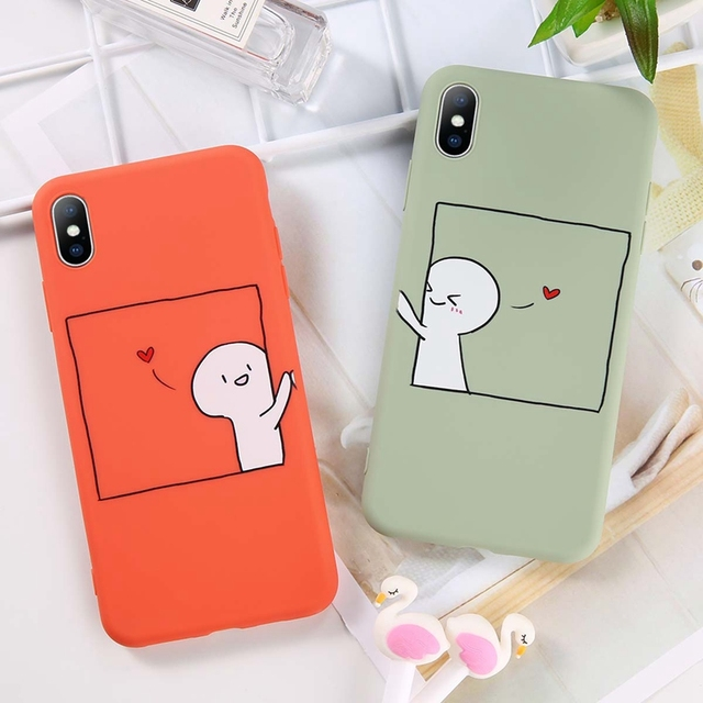 Lovely Cartoon Couples Phone Case For iPhone