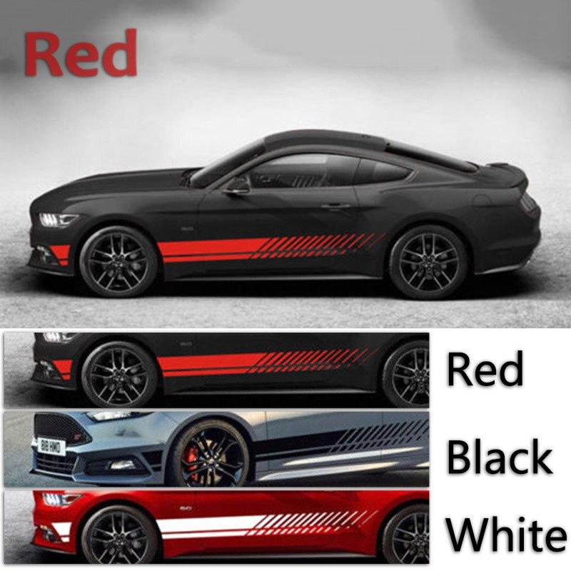 2pcs Adesivos de Carro Preto/Branco/Vermelho 2.1 M/6.9 pés NOVO Carro de Corrida Corpo Porta Lateral longa Faixa Adesivos Auto Adesivos de Vinil Do Decalque