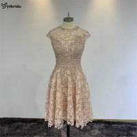 YYbride Stock Sample Scoop Neck Lace Dress A Line Knee Length Special Offer Cheap Party Dresses Beading Crystals Prom Dresses