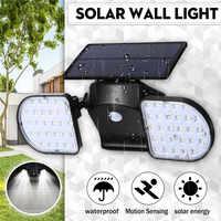 Solar Motion Sensor Light 56 LED Solar Spotlights Outside Adjustable Double Head for Outdoor Wall Yard Garden Garage Driveway