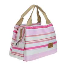Stripe Thermal Insulated Lunch Case Tote Cooler Zipper Case Bento Lunch Pouch (Pink Striped)(China)
