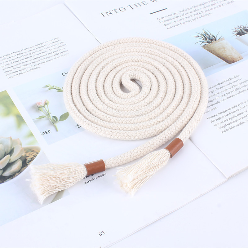 Fashion Women Braided Belts Rope For Dresses Tassel Waist Belt Female Twist Weaving Knot Belt Cotton String