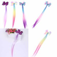 2019 Baby Girls Medium Straight Wig Synthetic Cosplay Party Anime Hair Wigs Fashion Headwear Bow Hairpins(China)
