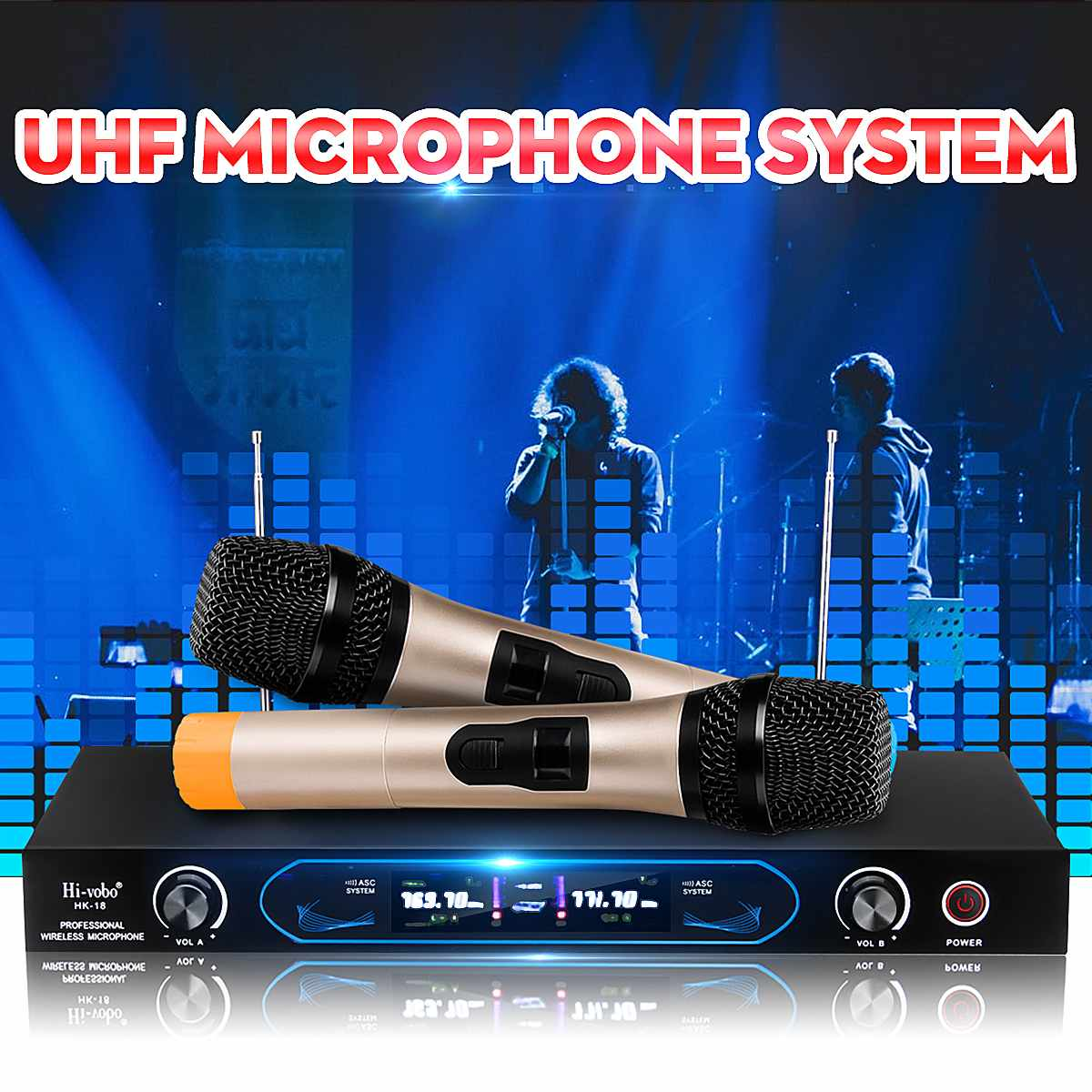 Professional Dual Cordless Wireless Microphone Microphones System with 2 Handhelds Mic 2 Channel Receiver For Home Karaoke PartyProfessional Dual Cordless Wireless Microphone Microphones System with 2 Handhelds Mic 2 Channel Receiver For Home Karaoke Party