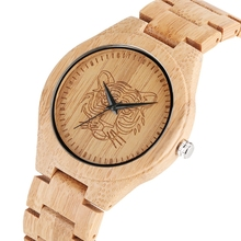 Men's Engraved Elk Deer Head Bamboo Wood Watch Tiger Dial Fu
