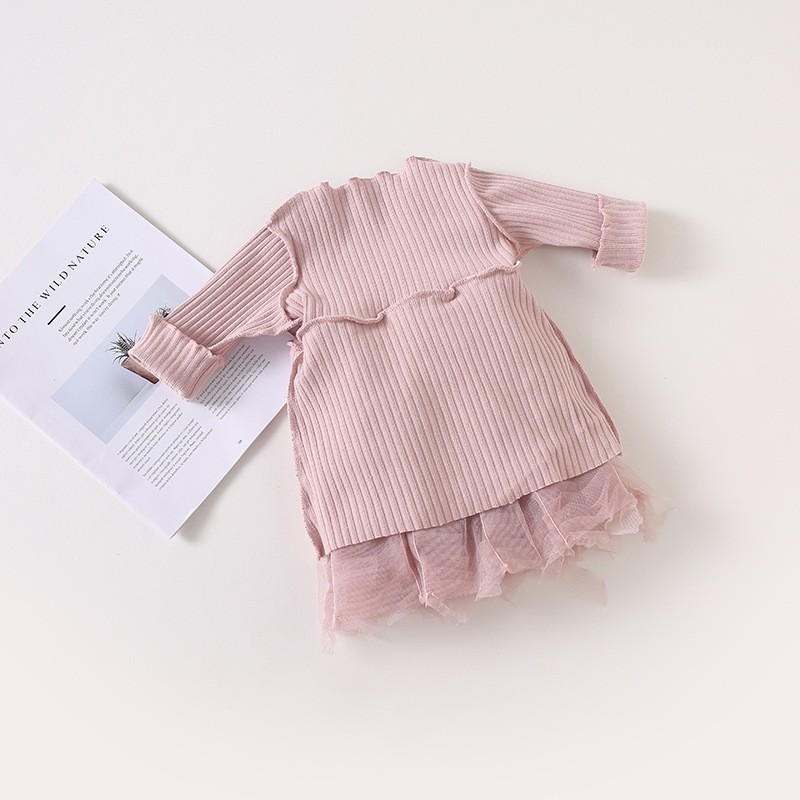 2019 Cotton Long Sleeve Knitted Kids Dresses For Girls Toddler Clothing Baby Girl Drees Tulle Patchwork Grey Pink White Spring 6