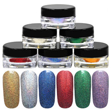 Portable 6 Different Color Pigment Nail Glitter Nail Art Chrome Powder with 2-head Brushes Accessories for DIY Nails Decoration