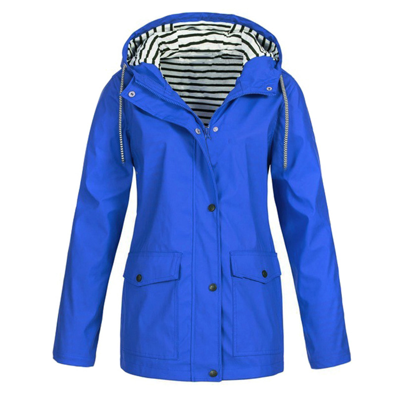 Women Hooded   Trench   Coat Striped Inside Drawstring Solid Color Pocket Long Coat Overcoat Female Outwear Plus Size S-5XL