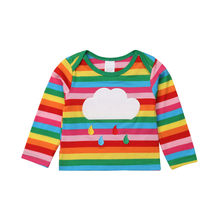 PUDCOCO Newest Toddler Kids Baby Girls Rainbow Tops Tee Child Winter Warm Long Sleeve striped T-shirt(China)