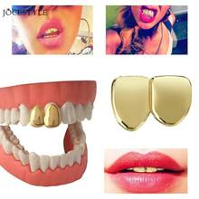 2pc Hip Hop Tooth Clip Top Bottom Plated Teeth Grills for Christmas Teeth Grillz Mouth Grills Body Jewelry for Women Man(China)
