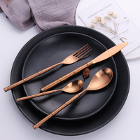 304 Stainless Steel Golden Cutlery Tableware Set Dinner Forks Knives Spoon Set Silverware Kitchen Food Dinnerware Drop Shipping
