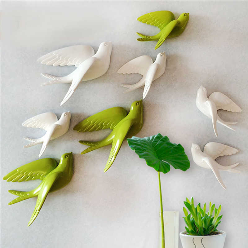 Pegatinas de pared swallow home decor living room dormitorio 3d pegatinas de pared decoraciones adornos pájaro de resina estatuilla estatua en la pared