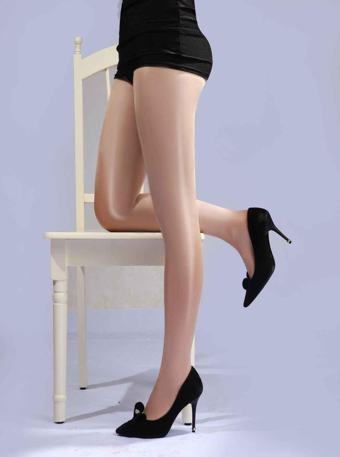 Sexy para mujer alto aceite reductor de cintura brillo medias pantimedias con entrepierna abierta brillante medias de mujer medias negro rojo rosa púrpura azul Color de la piel