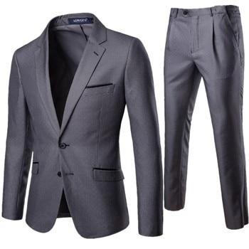 XF011 New Four Seasons Men's Suit 2 Pieces Professional Business Clothes Set Groom's Wedding Dress Mens Blazers