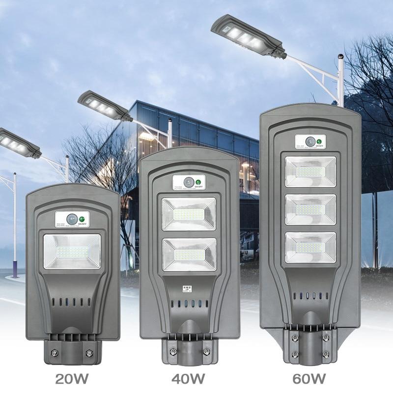 LED Solar Lamp Wall Street Light 20W/40W/60W Dusk to Dawn Super Bright Motion Sensor Waterproof Security Lamp for Garden Yard