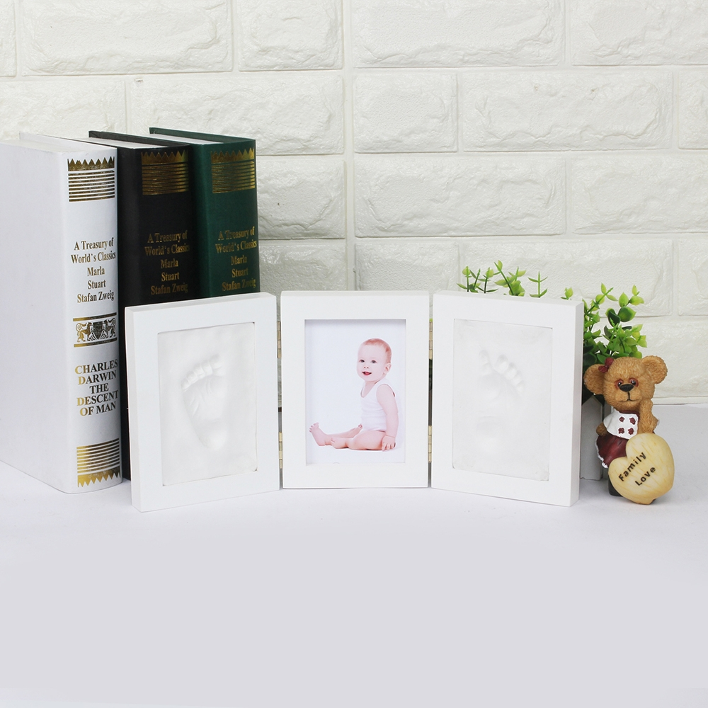 Cute Baby Photo Frame Diy Handprint Imprint Soft Clay Cute Baby Footprint Hand Exquisite Print Cast Set Baby Gift