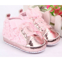 0-18M Baby Girl PU Leather Shoes Non-slip Lace Floral Embroidered Soft