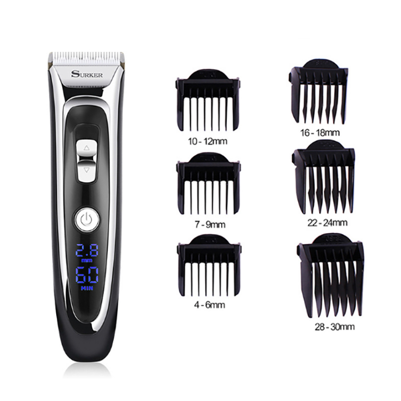 Image 5 - SURKER Professional Rechargeable Electric Hair Clipper Digital Hair Beard Razors Trimmer Men's Cordless Haircut Machine-in Hair Trimmers from Home Appliances
