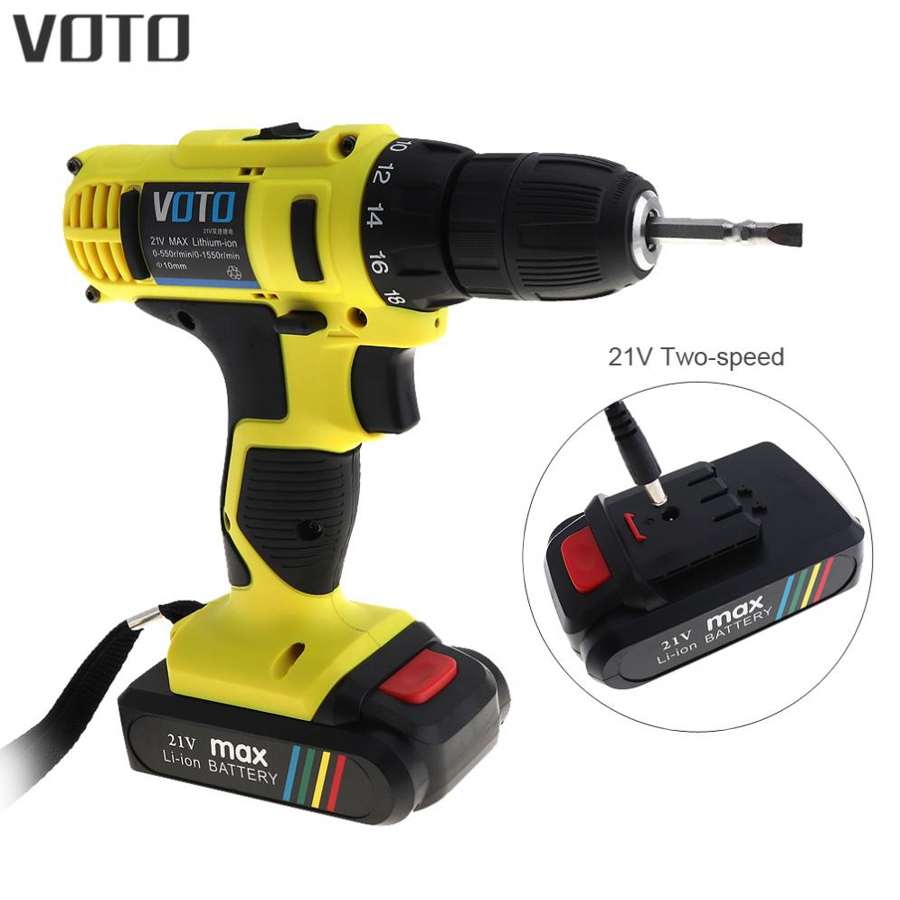 VOTO 21V Electric Drill Driver Power Tools Dual Speed 1550RPM Cordless Drill Electric Screwdriver Wireless Power DriverVOTO 21V Electric Drill Driver Power Tools Dual Speed 1550RPM Cordless Drill Electric Screwdriver Wireless Power Driver