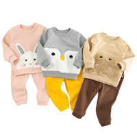 Kids Sets For Girls Cartoon Kids Clothes Velvet Winter Suit For Boy Sweatshirt + Pants Toddler Girl Outfits 2Pcs Set Sports Suit