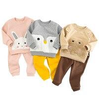 Kids Sets For Girls Cartoon Kids Clothes Velvet Winter Suit For Boy Sweatshirt + Pants Toddler Girl Outfits 2Pcs Set Sports Suit