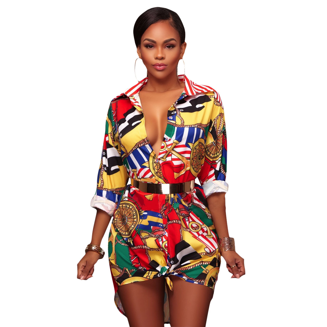 Dashiki African Clothes  Costume Fantastic Ki Long-sleeved Women's T-shirt Dress, Floral Black Chain Printed Fashion Miniskirt,