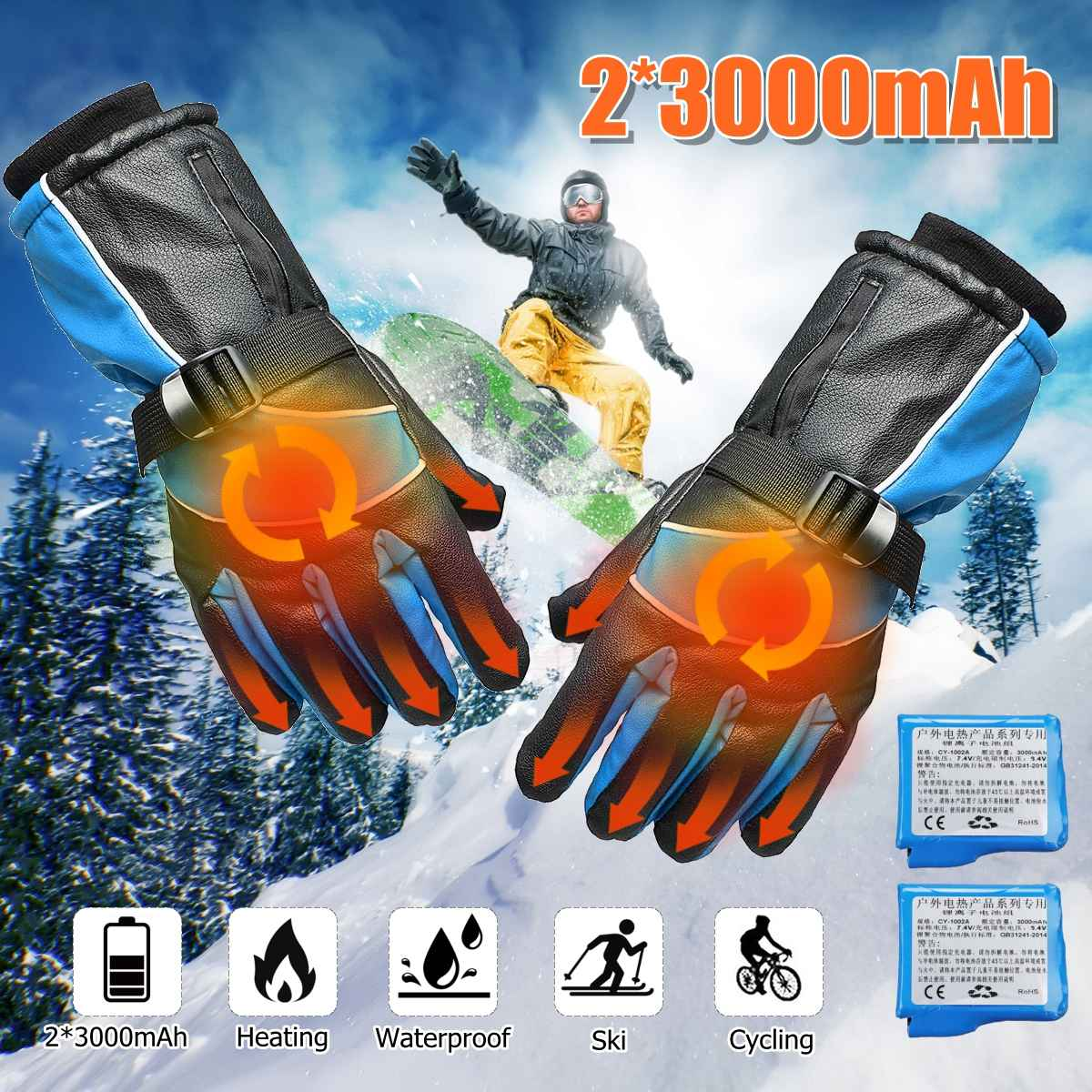 1 Pair Waterproof 2000MAh Rechargeable Motorcycle Electric Heated Gloves Snowboarding Work Winter Hands Warmer Outdoor Safety H