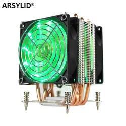 ARSYLID chłodnica procesora 6 rury cieplne podwójnego wentylatora 9cm 4pin PWM wsparcie fanów Intel LGA115x 1366 2011 TDP 130W cichy wentylator X79 X99 X58