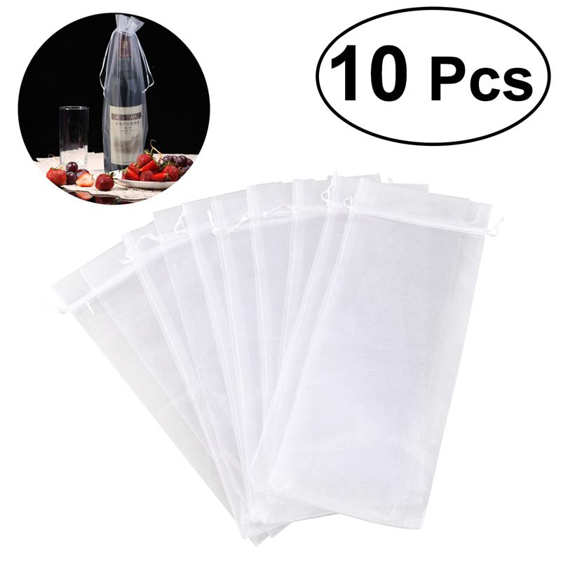 PIXNOR 10pcs Sheer Organza Wine Bottle Cover Wrap Gift Bags (White)