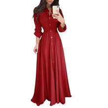 YJSFG HOUSE Women Dress Party Ball Prom Gown Formal Floor-Length Long Sleeve Autumn Plus Size Button Empire